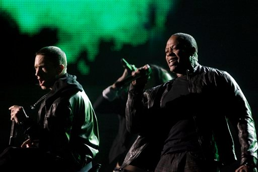 Eminem, left, and Dr. Dre perform at the 53rd annual Grammy Awards on Sunday, Feb. 13, 2011, in Los Angeles. (AP Photo/Matt Sayles)