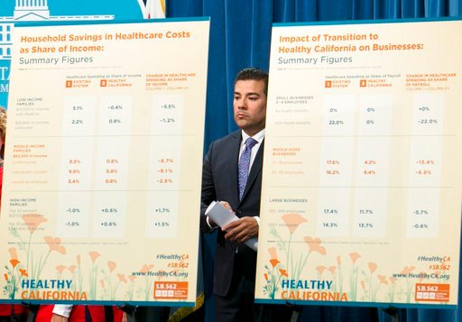 State Sen. Ricardo Lara, D-Bell Gardens, stands between a pair of charts outlining estimated cost savings concerning his single-payer health care bill at a Capitol news conference, Wednesday, May 31, 2017, in Sacramento, Calif. (AP Photo/Rich Pedroncelli)
