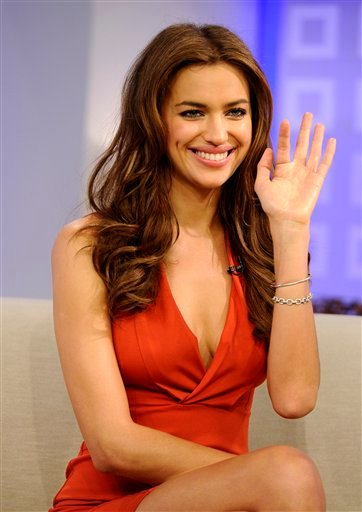 """In this photo released by NBC Universal, Sports Illustrated swimsuit cover model Irina Shayk appears on the """"Today"""" show to talk about being picked for the cover of the swimsuit edition of Sports Illustrated."""