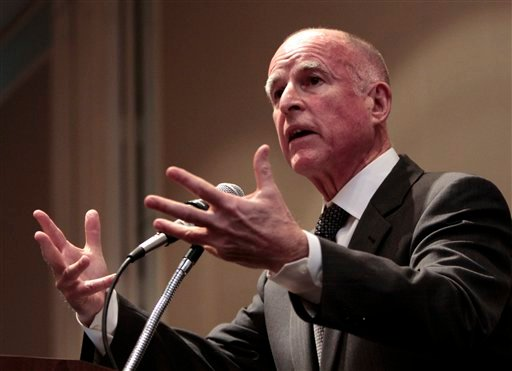 Gov. Jerry Brown speaks at the League of California Cities conference in Sacramento, Calif., Wednesday, Jan. 19, 2011. Brown told the audience of city officials about his plan to redirect more services back to local government. (AP Photo/Rich Pedroncelli)