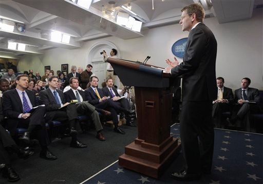 White House Press Secretary Jay Carney holds his first news briefing in the James Brady Press Briefing Room at the White House in Washington, Wednesday, Feb. 16, 2011.