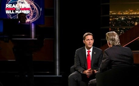 """HBO, Bill Maher, left, speaks with Sen. Ben Sasse, R-Neb, during a segment of his """"Real Time with Bill Maher."""