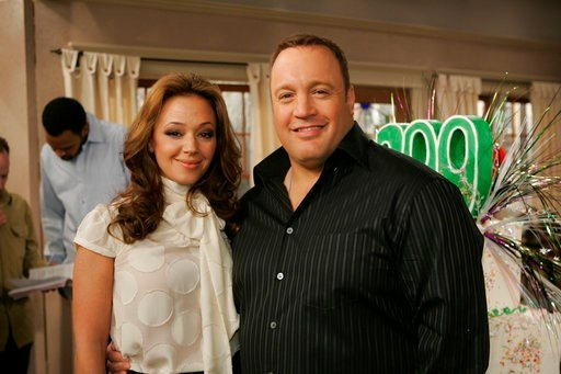"In this Jan. 25, 2007, file photo, Kevin James and Leah Remini pose on the set of the CBS comedy ""The King Of Queens"" at Sony Studios in Culver City, Calif."