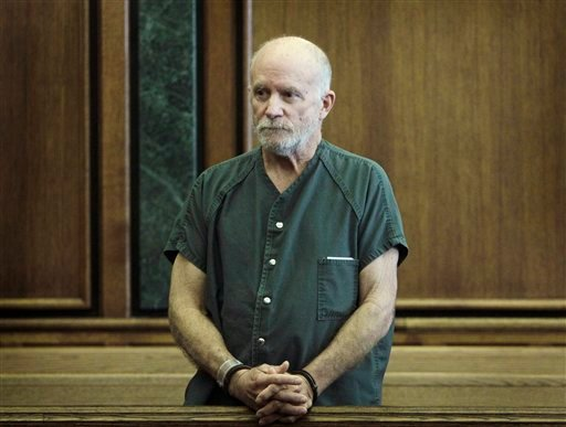 In this Feb. 4, 2011 photo, Roger Stockham, accused of threatening to blow up a popular mosque in Dearborn, Mich., stands during a hearing in 19th District Court in Dearborn. (AP Photo/Carlos Osorio)