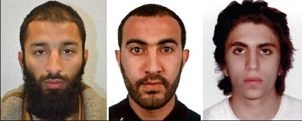 Khuram Shazad Butt, left, Rachid Redouane, centre and Youssef Zaghba who have been named as the suspects in Saturday's attack at London Bridge.