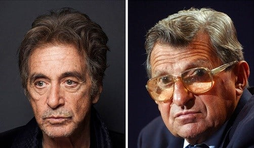 Al Pacino, left, appears during a photo shoot in New York on Dec. 7, 2012 and Penn State football coach Joe Paterno pauses during a media day press conference.
