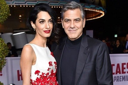 """Amal Clooney, left, and George Clooney arrive at the world premiere of """"Hail, Caesar!"""" in Los Angeles."""