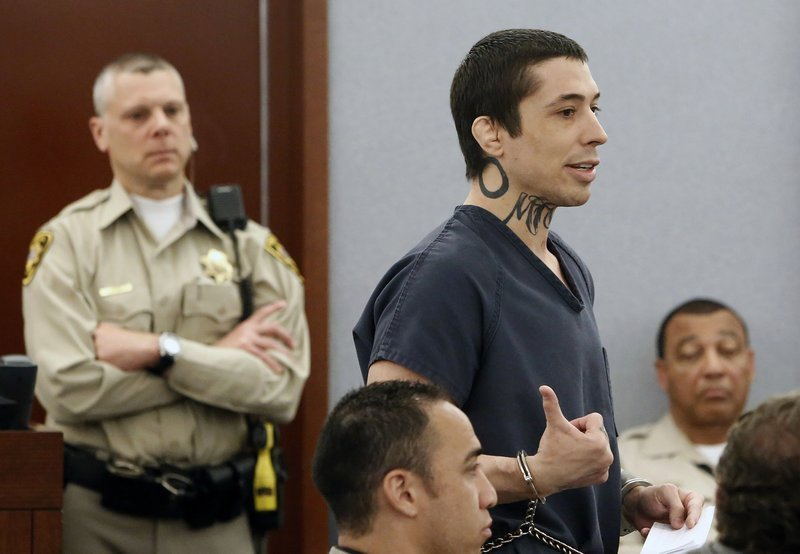Former mixed martial arts fighter Jonathan Koppenhaver, aka War Machine, addresses the court before his sentencing at the Regional Justice Center on Monday, June 5, 2017, in Las Vegas.