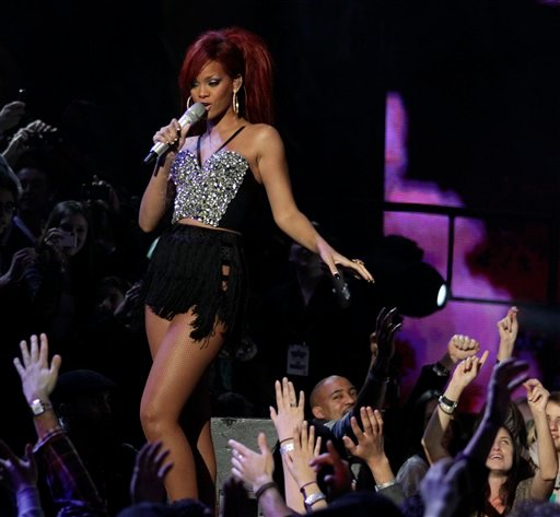 Rihanna performs during the halftime show at the NBA basketball All-Star Game on Sunday, Feb. 20, 2011, in Los Angeles. (AP Photo/Jae C. Hong)