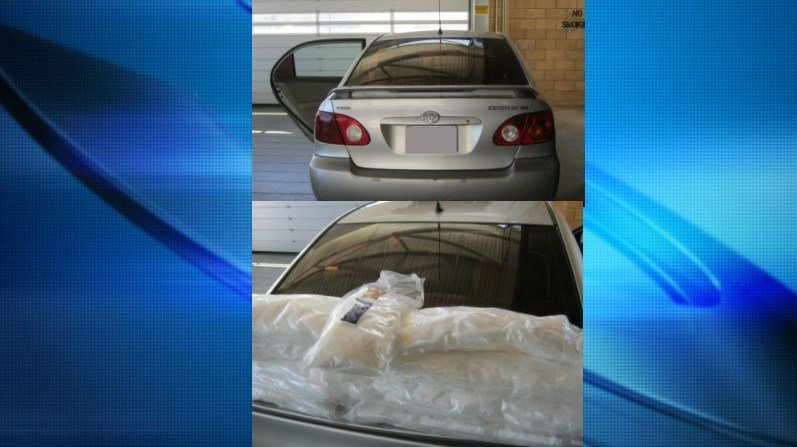 Border Patrol agents arrested a man on Saturday who had meth hidden inside his 2003 Toyota Corolla. Agents found the nine bundles hidden inside the seat upholstery.