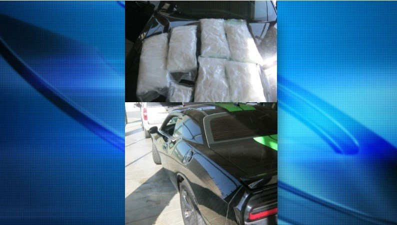 On Sunday morning, agents stopped the driver of a 2015 Dodge Challenger who had narcotics inside his vehicle. The male U.S. citizen had 40.68 pounds of crystal meth inside his car seats.