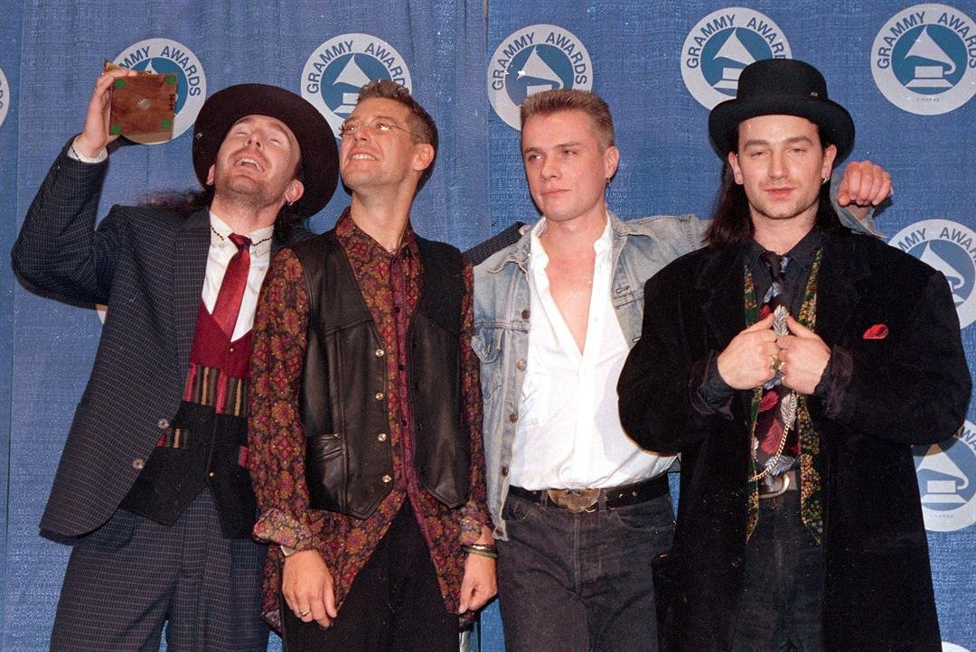 "U2 won a Grammy for album of the year for ""The Joshua Tree"" in 1988. (AP Photo/Mark Lennihan)"