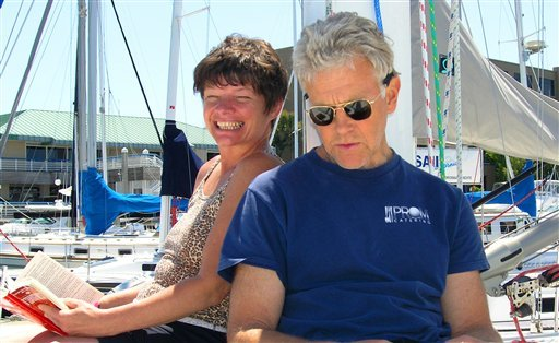 In this June 11, 2005 photo provided by Joe Grande, Phyllis Macay and Bob Riggle are seen on a yacht in Bodega Bay, Calif. (AP Photo/Joe Grande)