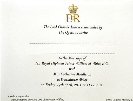 In this photo taken Wednesday, Feb. 16, 2011 at Buckingham Palace in London, invitation to the wedding of Prince William and Kate Middleton is shown before posting them to the lucky guests who will be present at the April 29, 2011.