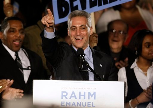 Former White House Chief of Staff Rahm Emanuel speaks at his election night party Tuesday, Feb. 22, 2011 in Chicago. (AP Photo/Kiichiro Sato)