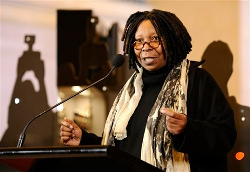 Actress Whoopi Goldberg speaks at the ribbon cutting of the 'Meet The Oscars' event at Grand Central Station in New York on Wednesday, Feb. 23, 2011.