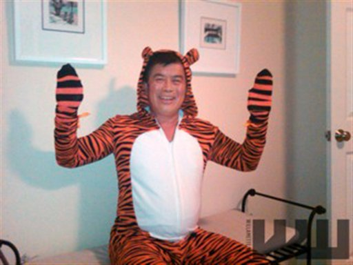 FILE - In this image provided by the Willamette Week newspaper, and taken Oct. 2, 2010 in Portland, Ore, U.S. Rep. David Wu is seen in a tiger costume.