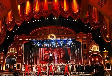 "The cast of ""Jersey Boys"" performs at the 69th annual Tony Awards at Radio City Music Hall in New York."