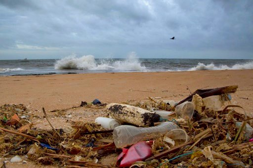 FILE- In this Aug. 13, 2015, file photo, a plastic bottle lies among other debris washed ashore on the Indian Ocean beach in Uswetakeiyawa, north of Colombo, Sri Lanka.  (AP Photo/Gemunu Amarasinghe, File)
