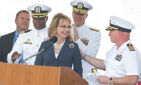 Former Arizona congresswoman Gabrielle Giffords speaks during a commissioning ceremony for the USS Gabrielle Giffords.