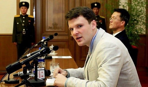 In this Feb. 29, 2016 file photo, American student Otto Warmbier speaks to reporters in Pyongyang, North Korea.