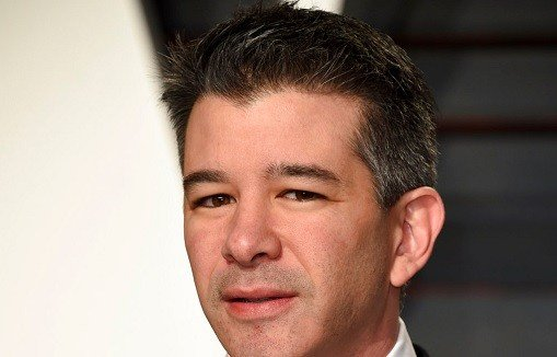 Uber CEO Travis Kalanick arrives at the Vanity Fair Oscar Party in Beverly Hills, Calif.