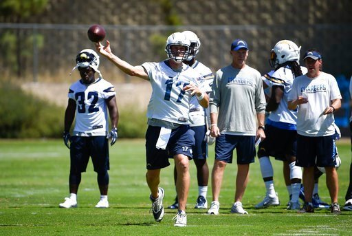 Los Angeles Chargers quarterback Philip Rivers (17) throws a pass during an NFL football practice Tuesday, June 13, 2017, in San Diego.