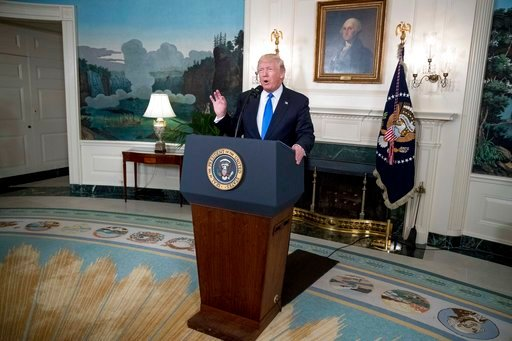 President Donald Trump speaks in the Diplomatic Room of the White House in Washington, Wednesday, June 14, 2017, about the shooting in Alexandria, Va. where House Majority Whip Steve Scalise of La., and others, where shot during a Congressional baseball p