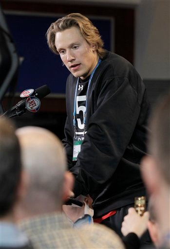Missouri quarterback Blaine Gabbert responds to a question during the NFL football scouting combine in Indianapolis, Friday, Feb. 25, 2011.
