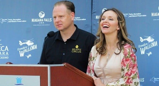 Trapeze-artist Erendira Wallenda smiles as she and her daredevil husband Nik Wallenda describe Erendira's plans to perform an acrobatic routine while suspended from a helicopter above Niagara Falls.