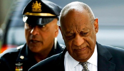 Bill Cosby arrives at the Montgomery County Courthouse during his sexual assault trial.