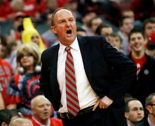 Ohio State coach Thad Matta yells out to his players during the first half of an NCAA college basketball game against Indiana Sunday, Feb 27, 2011, in Columbus, Ohio. Ohio State won 82-61. (AP Photo/Terry Gilliam)