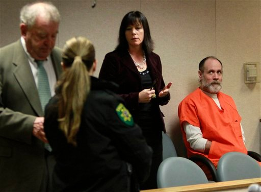 Phillip Garrido, right, who is accused of the 1991 kidnapping of Jaycee Dugard, glances at his court appointed attorney Susan Gellman, second from right, following a hearing at the El Dorado County Superior Court in Placerville, Calif., Monday, Feb. 28.