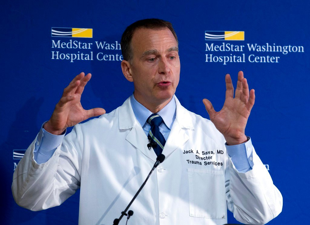 MedStar Washington Hospital Center Director of Trauma Dr. Jack Sava speaks during a news conference in Washington, Friday, June 16, 2017, about the condition of House Majority Whip Steve Scalise of La. who was shot in Alexandria, Va., Wednesday, June 14,