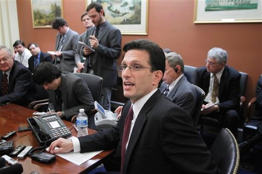 House Majority Leader Eric Cantor of Va., speaks to reporters on Capitol Hill in Washington, Monday, Feb. 28, 2011, as Congress resumes work on a spending plan to avoid a government shutdown. (AP Photo/J. Scott Applewhite)