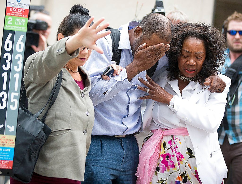 Family and friends of Valerie Castile and Philando Castile walked out of the courthouse after Jeronimo Yanez was found not guilty on all counts in the shooting death of Philando Castile, Friday, June 16, 2017, in St. Paul, St. Paul, Minn. (Elizabeth Flore