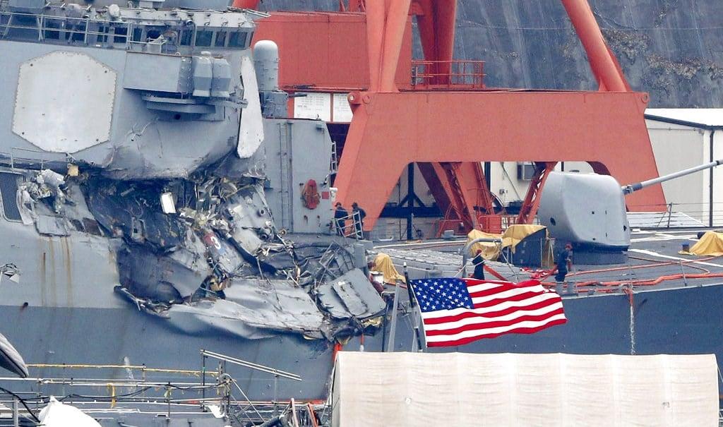 Damaged USS Fitzgerald is seen at Yokosuka Naval Base, south of Tokyo, on Sunday. (Kyodo News via AP)