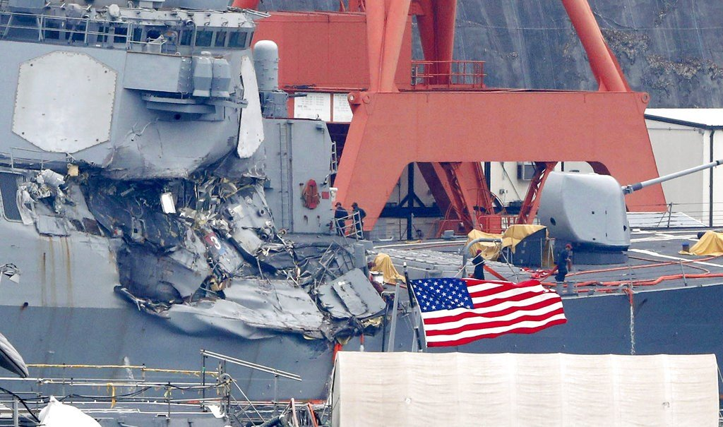 Damaged USS Fitzgerald is seen at Yokosuka Naval Base, south of Tokyo, on Sunday. (Kyodo News via AP)