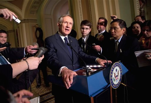 Senate Majority Leader Sen. Harry Reid, D- Nev., talks to the media after a Democratic policy luncheon on Tuesday, March 1, 2011, in Washington. (AP Photo/Evan Vucci)