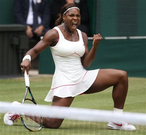 This July 3, 2010, defending champion Serena Williams reacts as she wins a point from Vera Zonareva, during the women's singles final at Wimbledon.