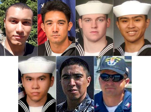 This combination of undated photos released Monday, June 19, 2017, by the U.S. Navy shows the seven U.S. sailors who died in a collision between the USS Fitzgerald and a container ship off Japan on Saturday, June 17, 2017. (U.S. Navy via AP)