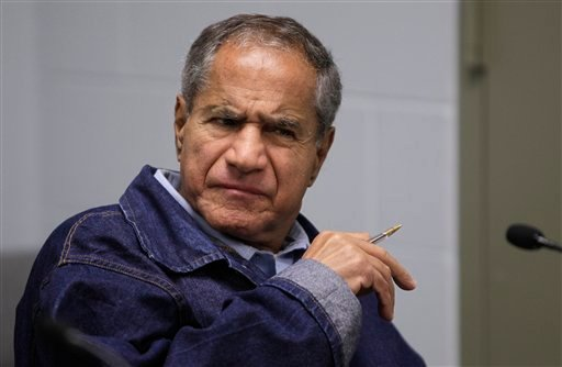 Sirhan Sirhan, now 66, convicted of assassinating Sen. Robert F. Kennedy in 1968, is seen during a Board of Parole Suitability Hearing Wednesday, March 2, 2011, at the Pleasant Valley State Prison in Coalinga, Calif.