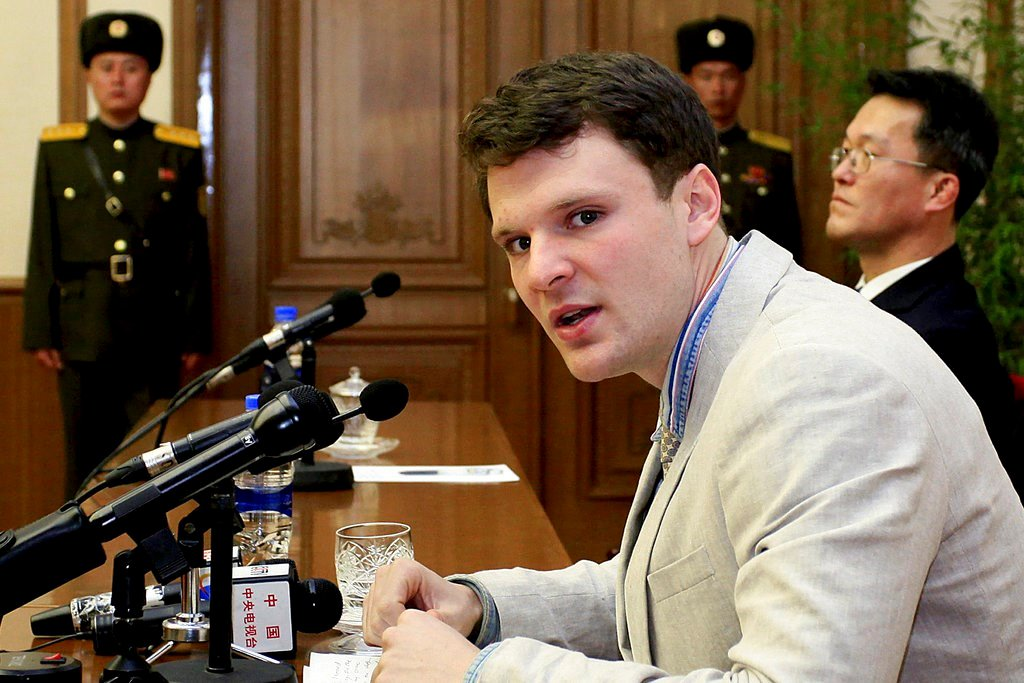 To North Korea and Back FILE - In this Feb. 29, 2016, file photo, American student Otto Warmbier speaks as he is presented to reporters in Pyongyang, North Korea. More than 15 months after he gave a staged confession in North Korea, he is with his Ohio f