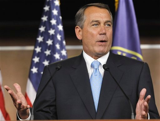House Speaker John Boehner of Ohio gestures during a news conference on Capitol Hill in Washington, Wednesday, March 2, 2011.