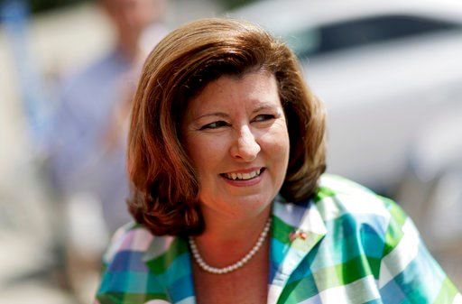 Republican candidate for 6th congressional district Karen Handel arrives at Old Hickory House for a campaign stop in Tucker, Ga., Monday, June 19, 2017. (AP Photo/David Goldman)