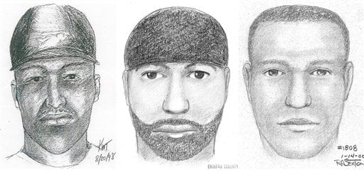 This composite of artists' sketches provided by the Fairfax, Va., County Police Department shows the likeness of a suspect wanted for 12 sexual assaults .
