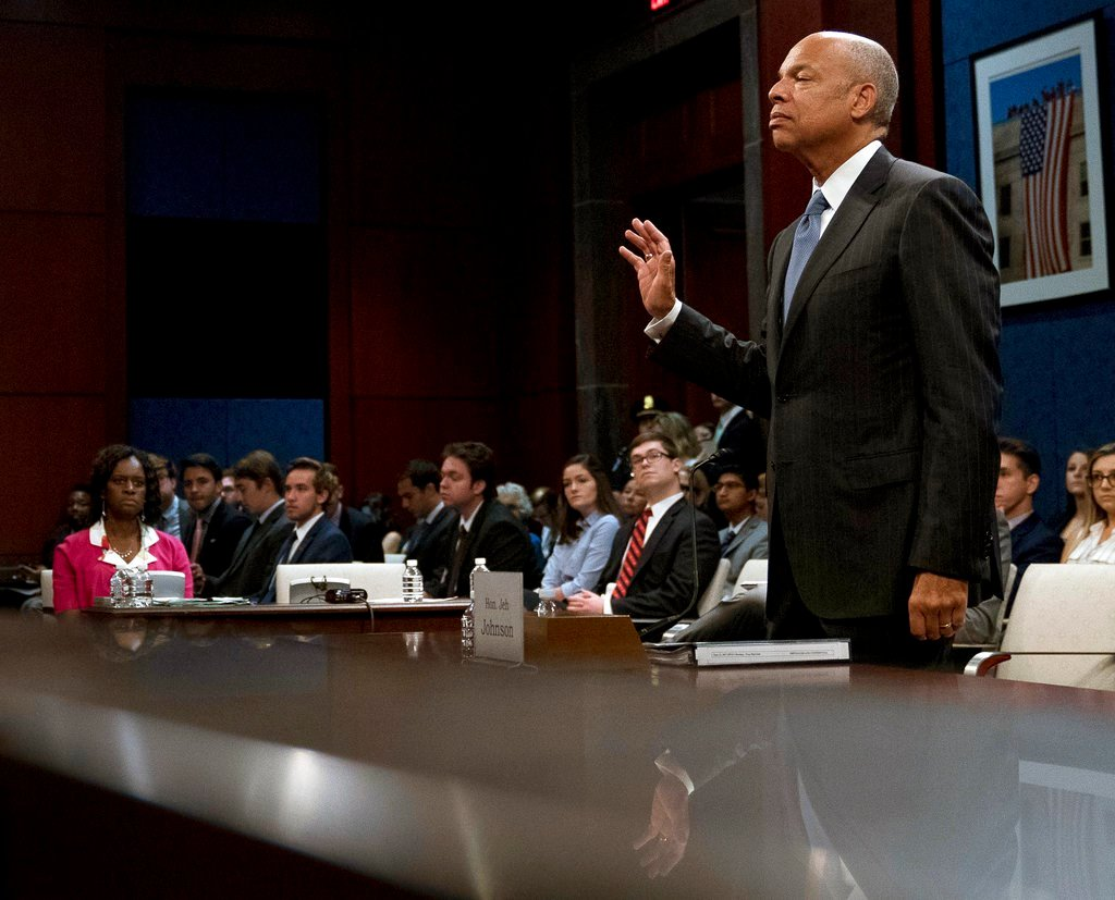 Former Homeland Security Secretary Jeh Johnson is sworn in to the House Intelligence Committee task force on Capitol Hill in Washington, Wednesday, June 21, 2017, as part of the Russia investigation. (AP Photo/Andrew Harnik)