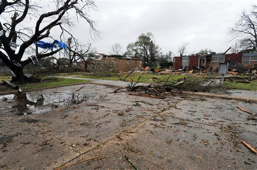 Debris litters ground in Rayne, La., after a suspected tornado hit the area injuring at least nine people, leveling homes and causing natural gas leaks that prompted evacuations on Saturday, March 5, 2011. (AP Photo/The Lafayette Daily Advertiser)