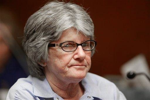 Former Manson family member and convicted murderer Patricia Krenwinkel listens to the ruling denying her parole, at a hearing at the California Institution for Women in Corona, Calif., Thursday, Jan. 20, 2011. (AP Photo/Reed Saxon)