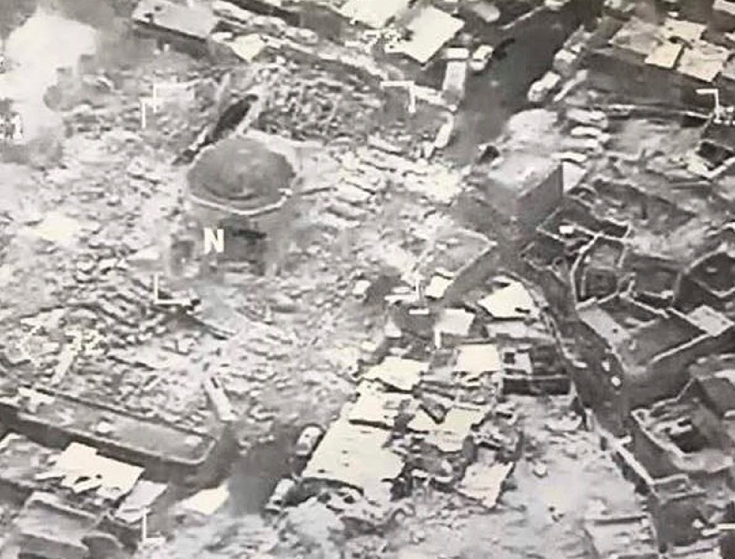 This image provided by U.S. CENTCOM shows al-Nuri mosque destroyed by the Islamic State group, in Mosul, Iraq, Wednesday, June 21, 2017. (U.S. CENTCOM via AP)